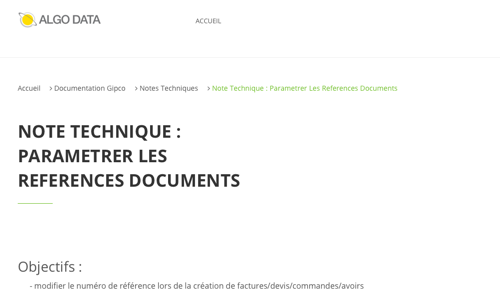 Note technique : Parametrer les references documents